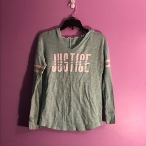 Girls size 10 justice hooded shirt